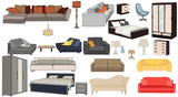 furniture collection, sofas, armchairs, closet - 186709651