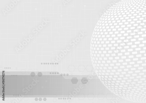 Staande foto Abstract wave Abstract global technology on white background concept