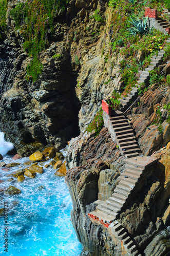 Fotobehang Liguria Stairs to the sea, Cinque Terre, Italy