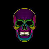 Graphic print of psychedelic skull engraved.
