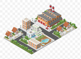 Set of Isolated High Quality Isometric City Elements on Transparent Background - 186729235