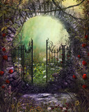 Enchanting Old Garden Gate with Ivy and Flowers - 186730039
