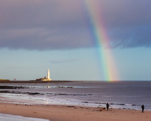 Rainbow over St Marys Lighthouse, Whitley Bay, Tyne and Wear, England, UK.