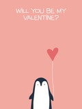 Valentine card vector template with cute, adorable penguin holding heart. Romantic, delightful cartoon background. - 186733003
