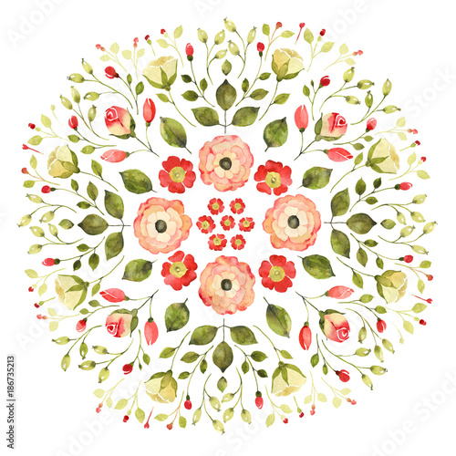 Watercolor floral mandala - 186735213