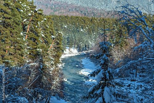 Fotobehang Herfst Landscape with mountain river in winter