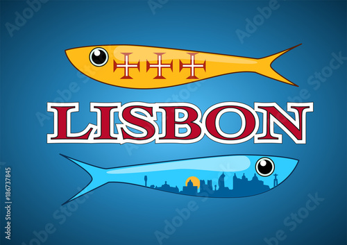Two ornamental sardines with portuguese patterns fill; including Lisbon skyline and text label. Vector illustration - 186737845