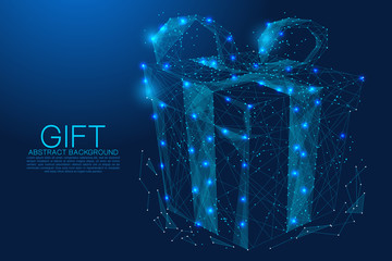 gift composed of polygon. Low poly vector illustration of a starry sky or Comos. The digital flyer consists of lines, dots and shapes. Wireframe technology light connection structure