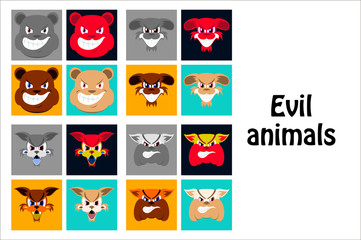 assembly of flat icons on theme evil animals