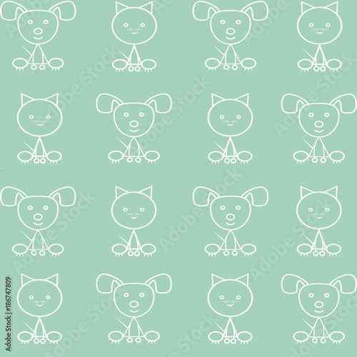 Seamless pattern with a small kitten and puppy.