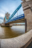 Fish Eye view architecture from Tower Bridge and London over river Thames - 186749629