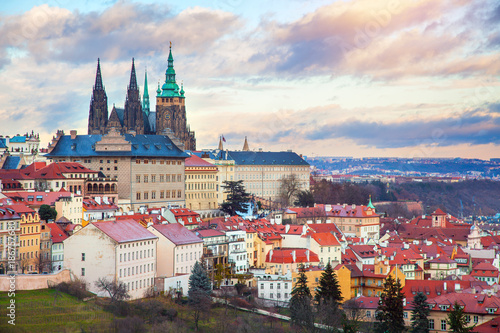 Prague panorama with Prague Castle Poster