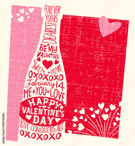 Happy Valentine's Day card with champagne bottle, hearts, and handwritten love phrases. Vector Illustration.
