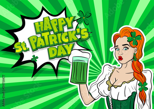 Obraz na płótnie Happy St Patrick's Day pop art. Sexy red woman wow face hold ale green glass. Holiday vector illustration greeting. Shamrock cartoon clover. Funny colored kitsch.