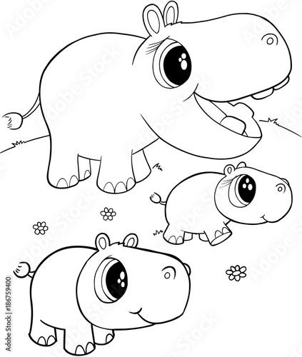 Foto op Plexiglas Cartoon draw Cute Hippos Vector Illustration Art