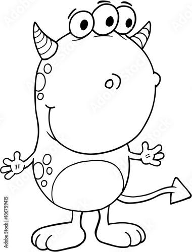 Foto op Plexiglas Cartoon draw Cute Silly Monster Vector Illustration Art