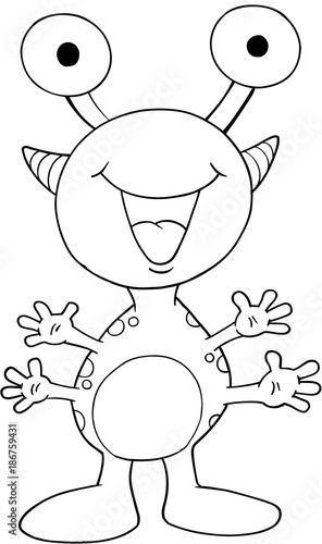 Fotobehang Cartoon draw Cute Silly Monster Vector Illustration Art