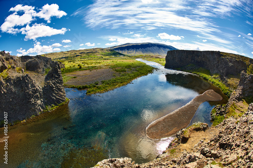 famous Hjalparfoss waterfall in southern Iceland. treking in Iceland. Travel and landscape photography concept