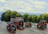 Old tram, oil paintings landscape, city, retro car. Fine art.