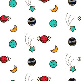 Doodles cosmic colorful seamless vector pattern. Icon planets galaxy texture. - 186768640