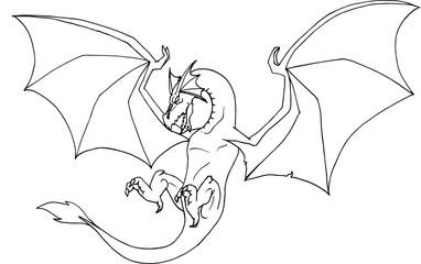 disegno a mano in bianco e nero da colorare di un drago alato in volo