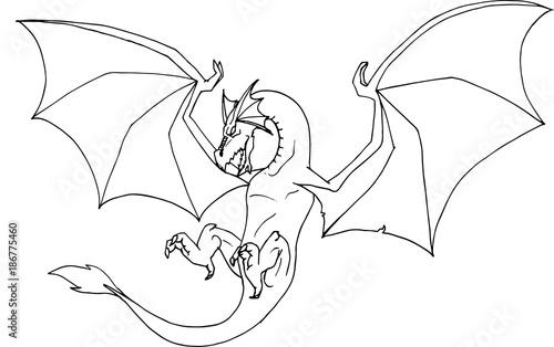 Disegno A Mano In Bianco E Nero Da Colorare Di Un Drago Alato In