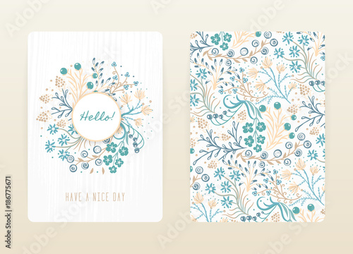 Cover design with floral pattern. Hand drawn creative flowers. Colorful artistic background with blossom. It can be used for invitation, card, cover book, notebook. Size A4. Vector illustration, eps10 - 186775671