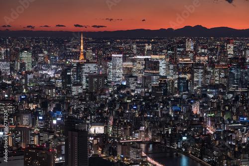 Poster Tokio マジックタイム時の東京都心の都市風景