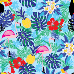 decorative pattern with flamingo, pineapple, toucan and monstera leaves.