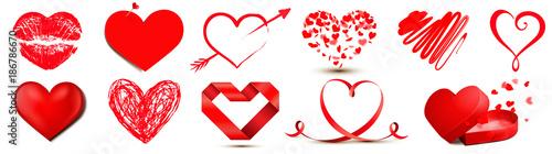 Set mit Herz Motiven