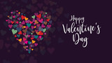Fototapety Happy Valentine's Day Vector Calligraphy with Colorful Hearts Illustration