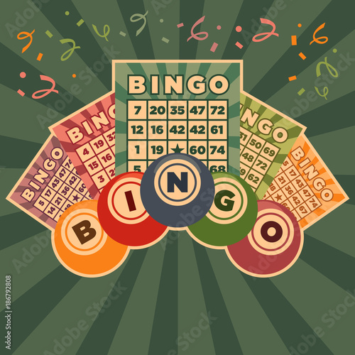 Staande foto Bol Retro Vintage illustration of bingo game cards and balls