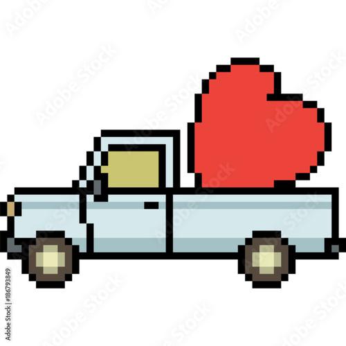 Fotobehang Auto vector pixel art heart pick up