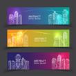 Banner Modern City Lights. vector illustration in flat design - 186798008
