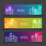 Banner Modern City Lights. vector illustration in flat design