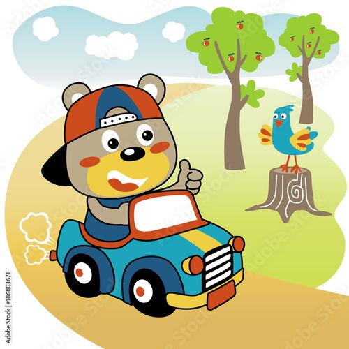 Funny driver car cartoon  - 186803671