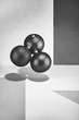 Abstract black and white still-life with balls