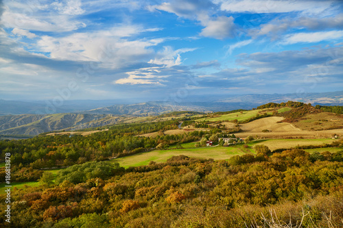 Foto op Plexiglas Blauw Landscape of San Quirico d'Orcia, Tuscany, Italy