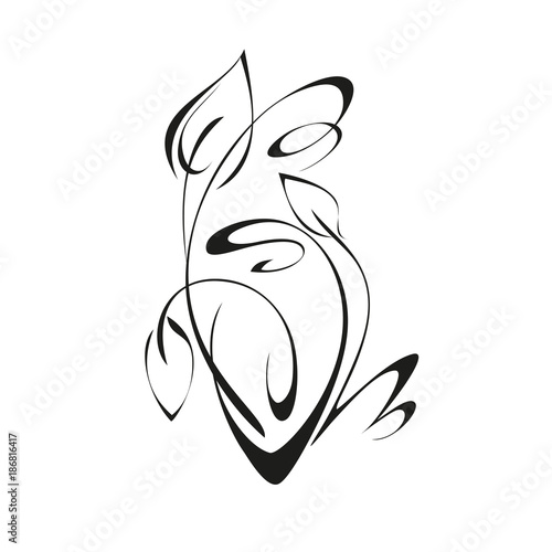 ornament 198. abstract drawing with foliage in black lines on a white background