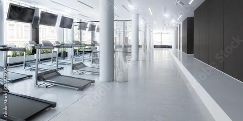Fotobehang Fitness Laufbänder im Fitness-Zenter, leer, Planung