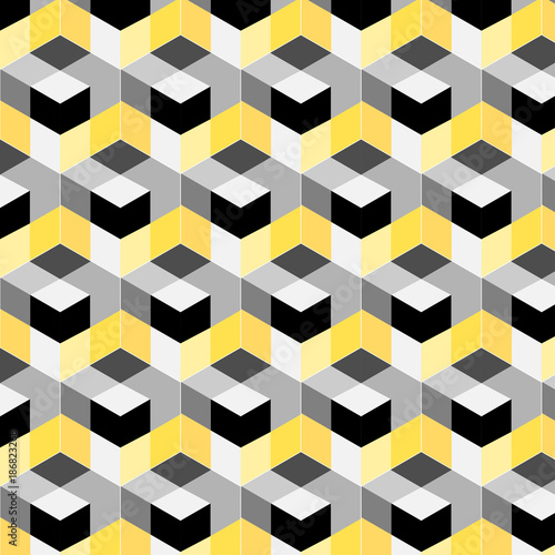 abstract cube pattern. Colorful design, geometric 3d vector wallpaper, cube pattern background. - 186823268