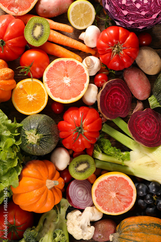 Foto Murales assorted fruit and vegetable