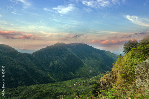 Tuinposter Groen blauw Mountains Landscape. Hills skyline Worlds End in Horton Plains National Park Sri Lanka.