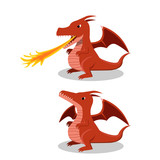 Angry red dragon with fire breath, cartoon vector