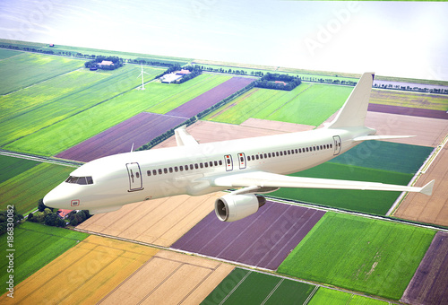 White 3D aircraft flying above Dutch landscape