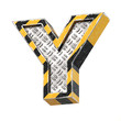 Industrial black and yellow striped metallic font, 3d rendering, letter Y