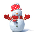 Snowman isolated on white background. Greeting card design element 3d rendering