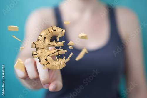 Foto Murales Businesswoman with exploding euro currency 3D rendering