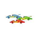 Motorsports race cars, Singapore Formula One race vector Illustration