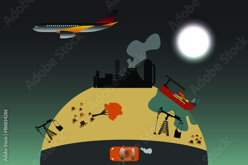 Fotobehang Auto polluted environment illustration